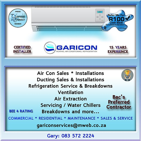Garicon heating and air conditioning. Gari can also work with refrigeration and Air extraction. This logo was designed by Business Connect 360 in Johannesburg South Africa