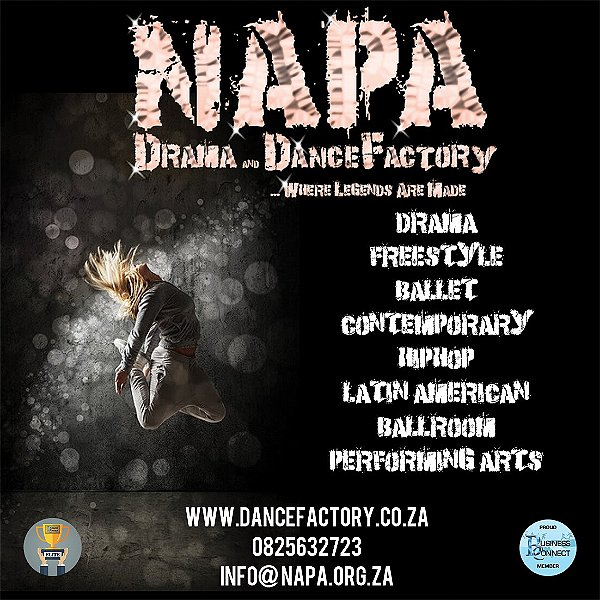 NAPA can get your feet dancing contemporary in no time. Or perhaps you prefer Latin American dancing. What a great dance factory. This logo was designed by Business Connect 360 in Johannesburg South Africa
