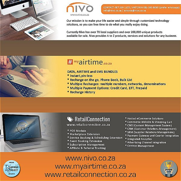 Nivo. Data Airtime SMS bundles. Customized technolgy Solutions. Hosted ecommerce Solutions. Business Connect 360