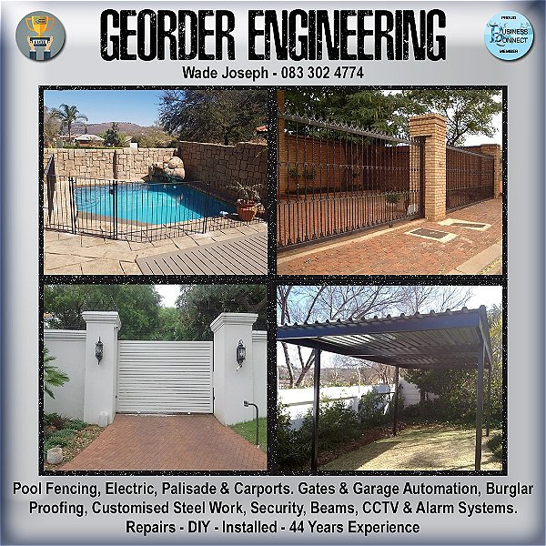 Georder Engineering can help with any kind of fence Palisade and all burglar proofing including CCTV systems. This logo was designed by Business Connect 360 in Johannesburg South Africa