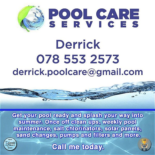 Pool care services. Once off pool clean ups. pool maintenance, salt chlorinators, solar panels, pumps and filters. Business Connect