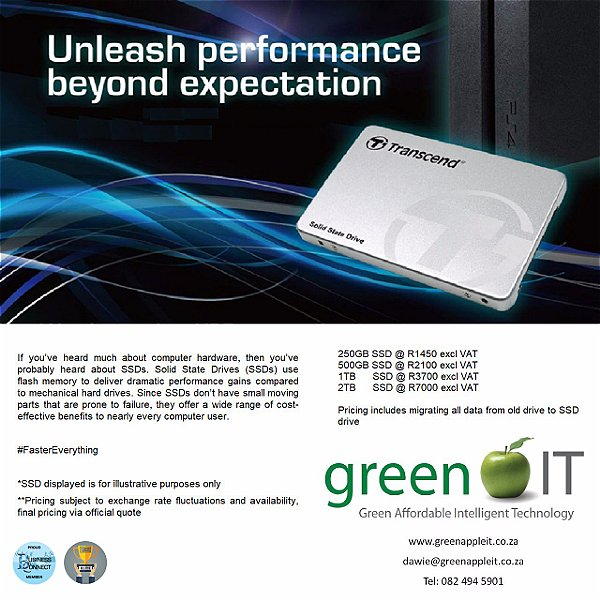 Green It have acces to SSD drives. The SSD is faster than ever before. This logo was designed by Business Connect 360 in Johannesburg South Africa