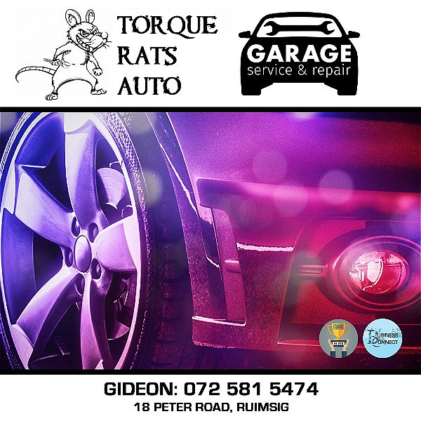 Torque Rats is a auto service and repair garage in Ruimsig. They are friendly and always willing to go the extra mile. This logo was designed by Business Connect 360 in Johannesburg South Africa